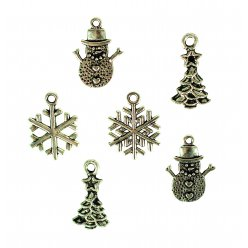 charms metal noel 15 a 2 cm x 6 pcs