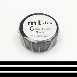 masking tape mt 6 mm slim set de 3  uni noir  matte black