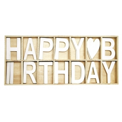 lettres bois happy birthday x 28 pcs