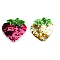 patch sequins double face fraise couleurs assorties 10 x 10 cm