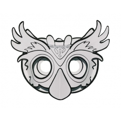 masque 3d carte forte hibou a colorier et a monter