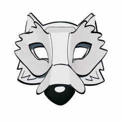 masque 3d carte forte loup a colorier et a monter