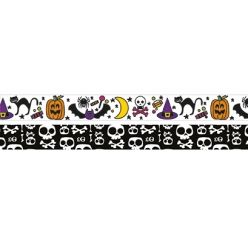 washi tape halloween tete de mort citrouille 5m x 15mm x 2pcs