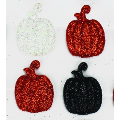 sticker citrouille acryl glitter noir blanc orange 25 cm x 16 pcs