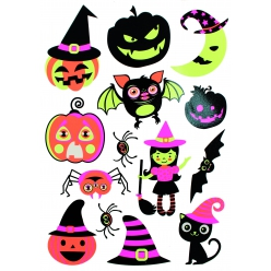 stickers fluorescents halloween 4 a 7 cm x 14 pcs
