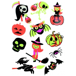 stickers fluorescents halloween 4 a 7 cm x 11 pcs