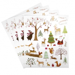 stickers foret d hiver x 4 feuilles