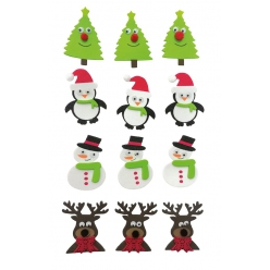 sticker mousse personnages de noel 35 a 51 cm x 12 pcs