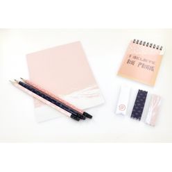 set de papeterie carnet crayon note adhesives rose