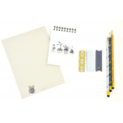 set de papeterie carnet crayon note adhesives bug and plant