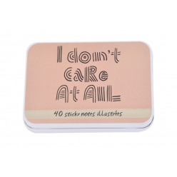notes adhesives 6x8cm avec boite metal i don t care 40 pieces