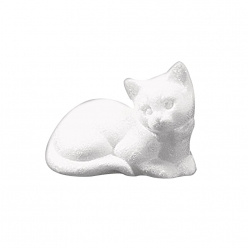 chat en polystyrene dormant 14 cm