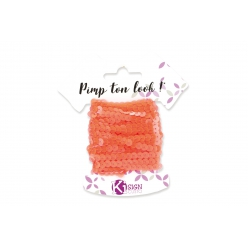ruban sequins orange fluo 6m largeur 6 mm