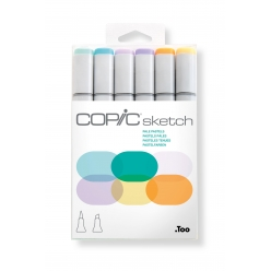 set copic sketch marqueurs manga 6 couleurs pastels