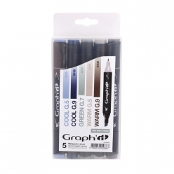 set 5 marqueurs a l alccol graph it mix grey ed lim