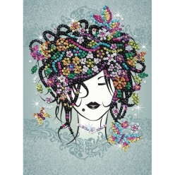 tableau sequin art la belle au bouquet