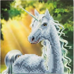 carte a diamanter strass crystal art licorne 18 cm