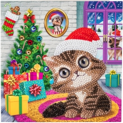 carte a diamanter strass crystal art noel chaton 18 cm