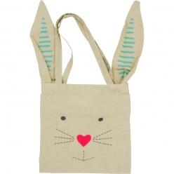 mini tote bag lapin en coton 25 x 25 cm