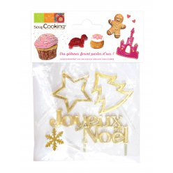 decorations dorees pour buche de noel