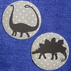 patchs thermocollants dinosaure n3 pois beige 2 pieces
