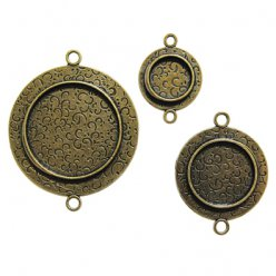 support en metal bronze rond martele 3 pieces