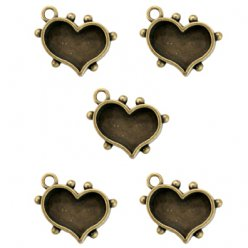 support en metal bronze coeur 5 pieces mb1505
