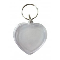 porte cles transparents coeur 6 pieces
