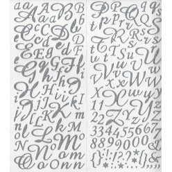 stickers alphabet paillete argente 177 pces