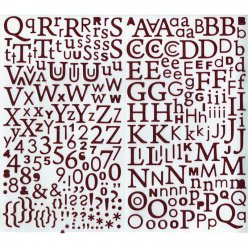 sticker alphabet paillete rouge 300 lettres
