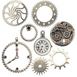 breloque en metal rouages et montre argente 8 pieces