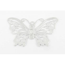estampe filigranee papillon 39x27 mm argente