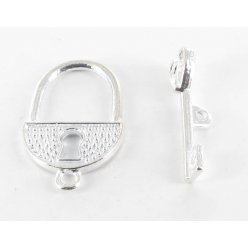 fermoir toggle cadenas et cle argente