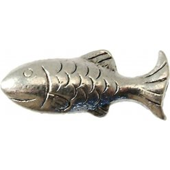 perle metal poisson 25x10 mm argente