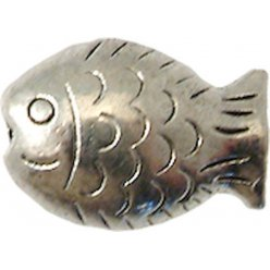 perle metal poisson 14x10 mm argente