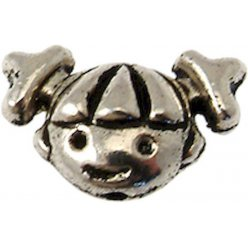 perle metal fille 17x10 mm argente