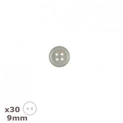 30 boutons de chemise blancs transparents 9 mm dill