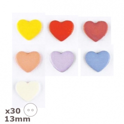 30 boutons coeur plein  13mm dill