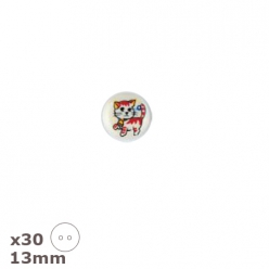 30 boutons chats 13mm dill