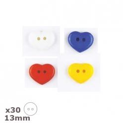 30 boutons coeur 13mm dill couleurs au choix