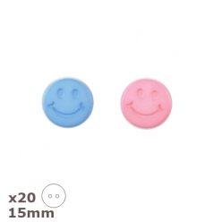 20 Boutons smiley bleus ou roses 15mm Dill