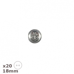 20 boutons argent antique ancre 18mm dill