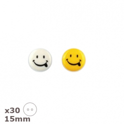 30 Boutons smiley blancs ou jaunes, 15mm Dill