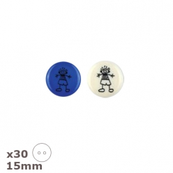 30 boutons blancs ou bleus petit garcon 15mm dill