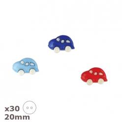 30 boutons voiture bleu bleu ciel ou rouge 20mm dill