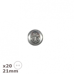 20 boutons argent antique ancre 21mm dill