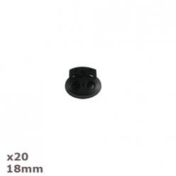 20 arrets de cordon noirs ovales 18mm dill