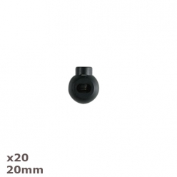 20 arrets de cordon noirs ronds 20mm dill