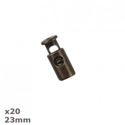 20 arrets de cordon antique tin 23mm dill