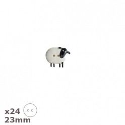 24 boutons mouton noir blanc 23mm dill